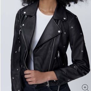 Rebecca Minkoff Wes Moto Jacket With Star Studs S